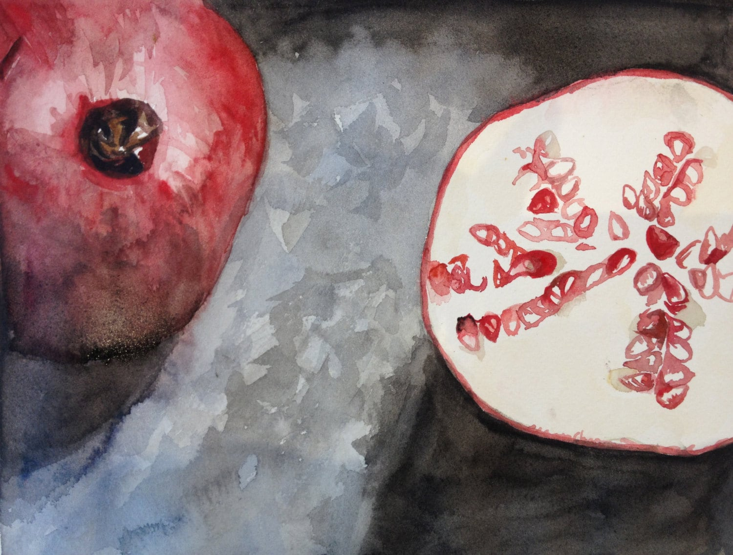 "Original 8x10"" Watercolor Painting: Pomegranates"