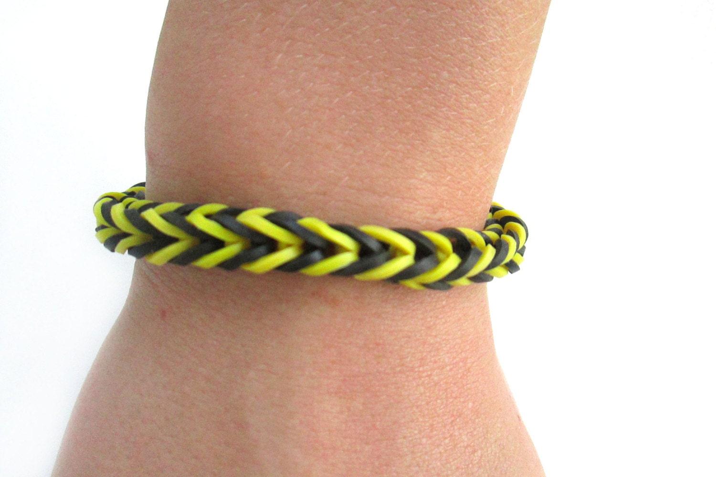 Loom bracelet black and yellow fishtail rubber band bracelet on etsy