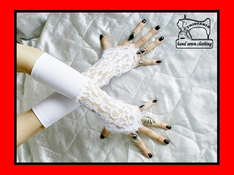wedding gothic cyber goth gloves arm warmers fingerless cuff harajuku queen of darkness lolita victorian steampunk corset style 0770