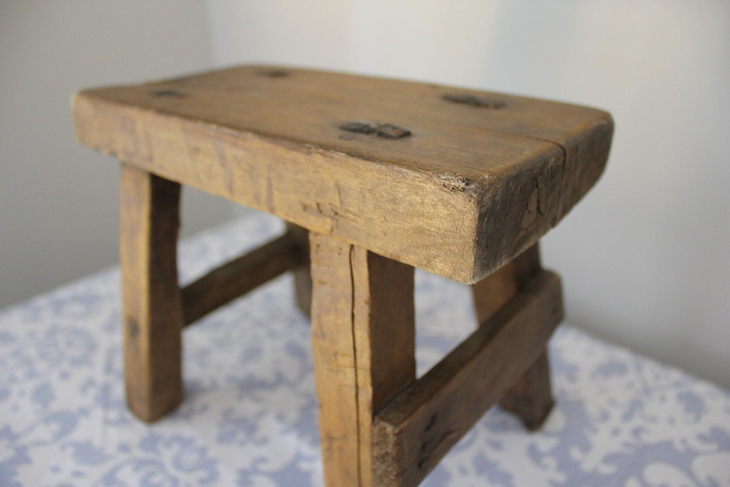 Rustic Salvaged Wood Small Stool By Landrvintage On Etsy