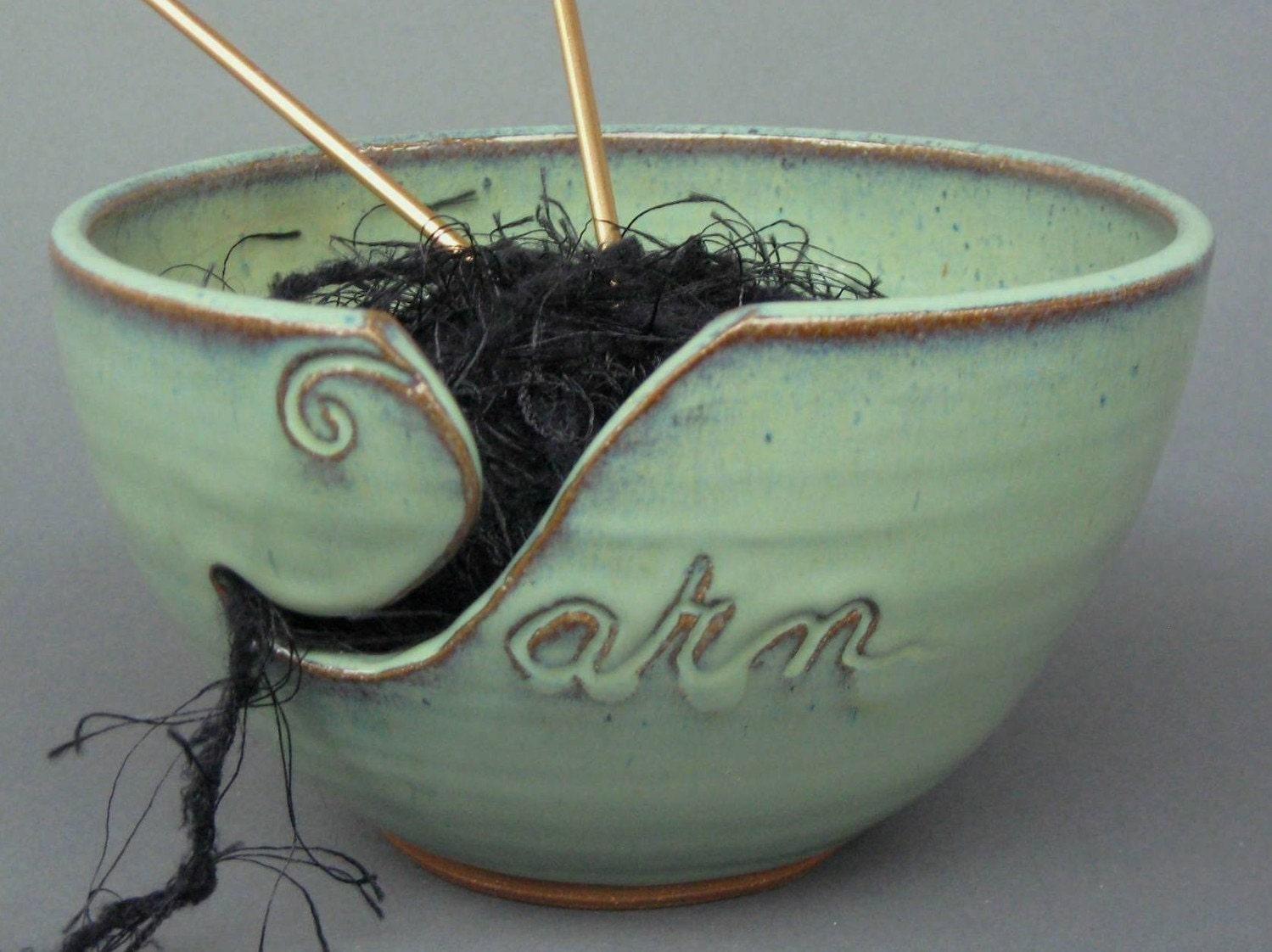 Yarn Bowl Green Handmade Pottery Knit Crochet Purl Stitch Fiber Art Needle Crafts