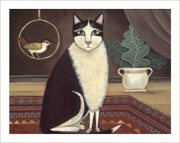 TUXEDO CAT w BIRD in VICTORIAN INTERIOR signed print KITTY CAT FELINE Wendy Presseisen