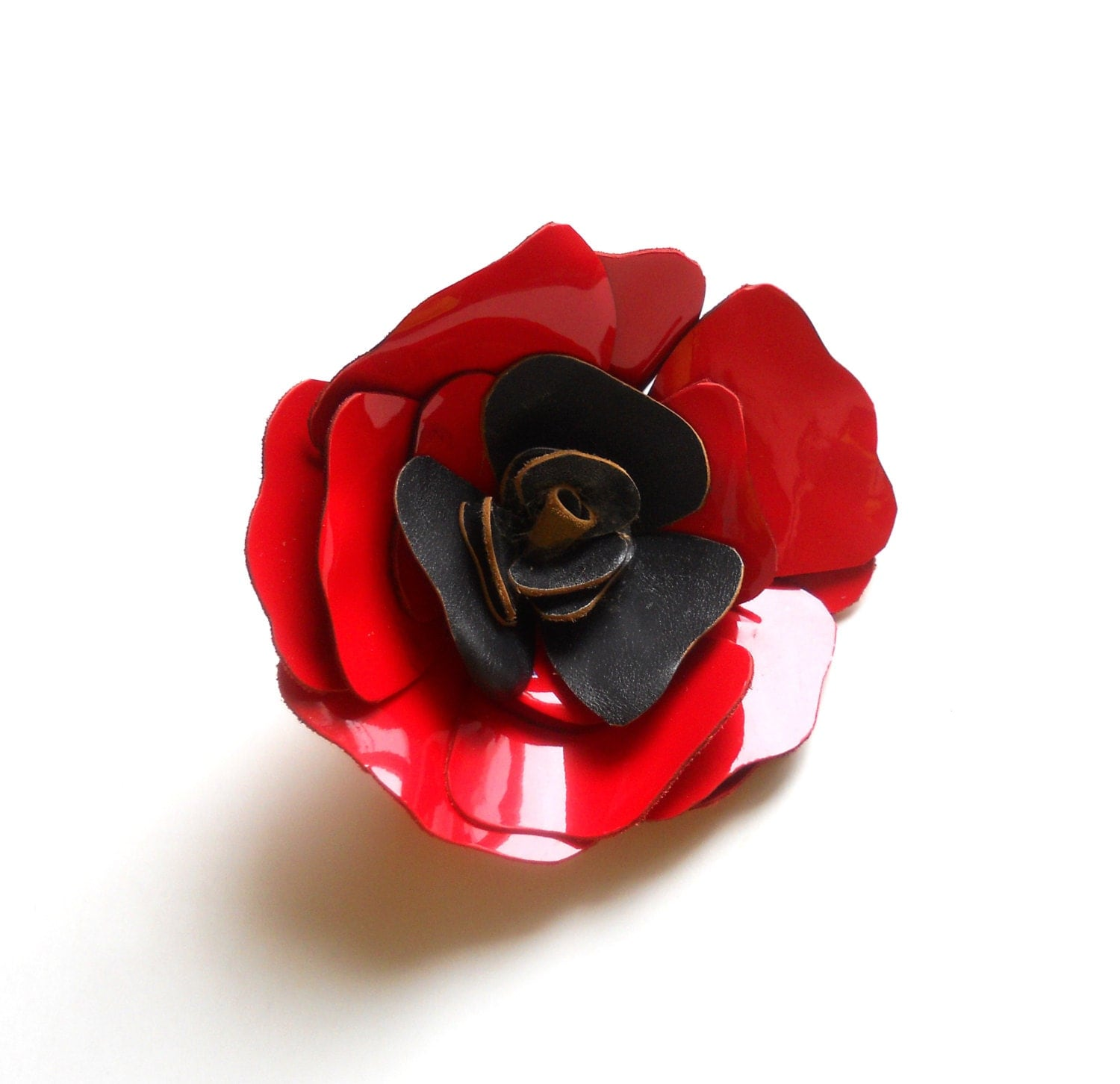 Leather Rose Brooch in Red and Black - maycily