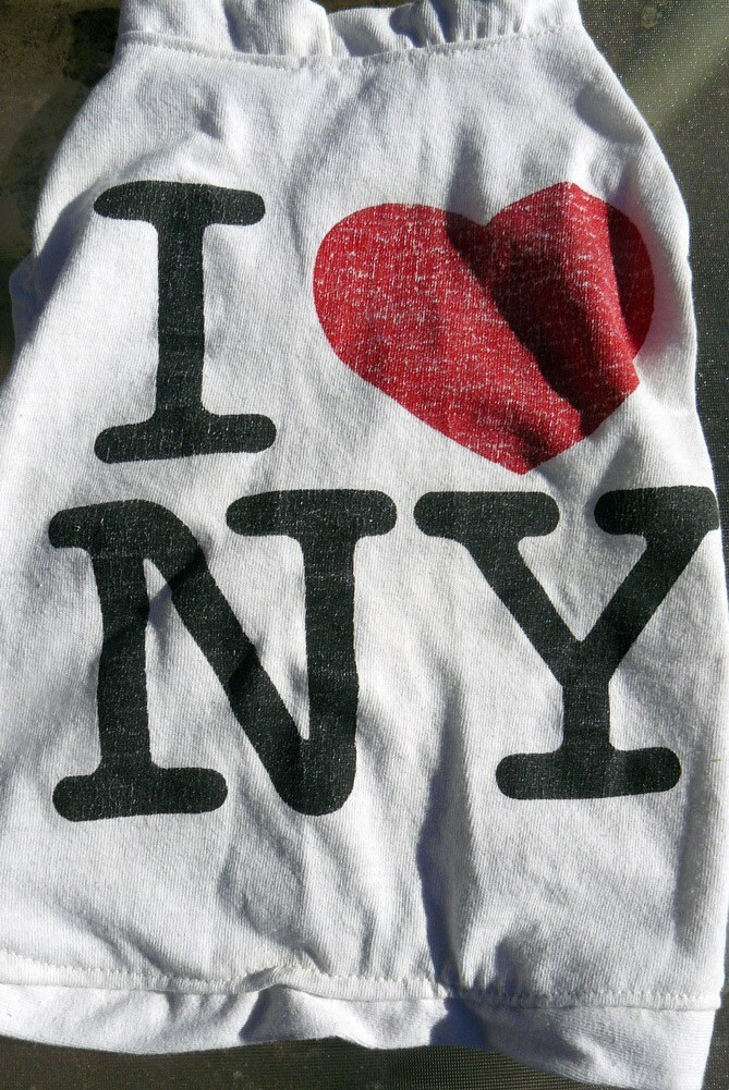 Upcycled dog tee - I heart NY (Medium) - green, sustainable, handmade from old t-shirt