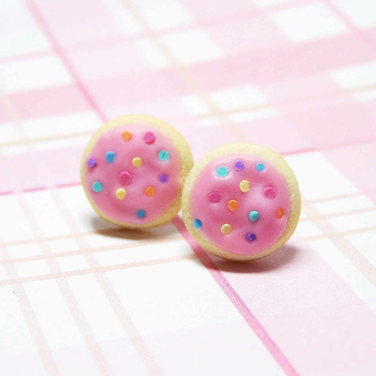 Sugar Cookies With Pink Frosting Stud Earrings Polymer Clay Food ...