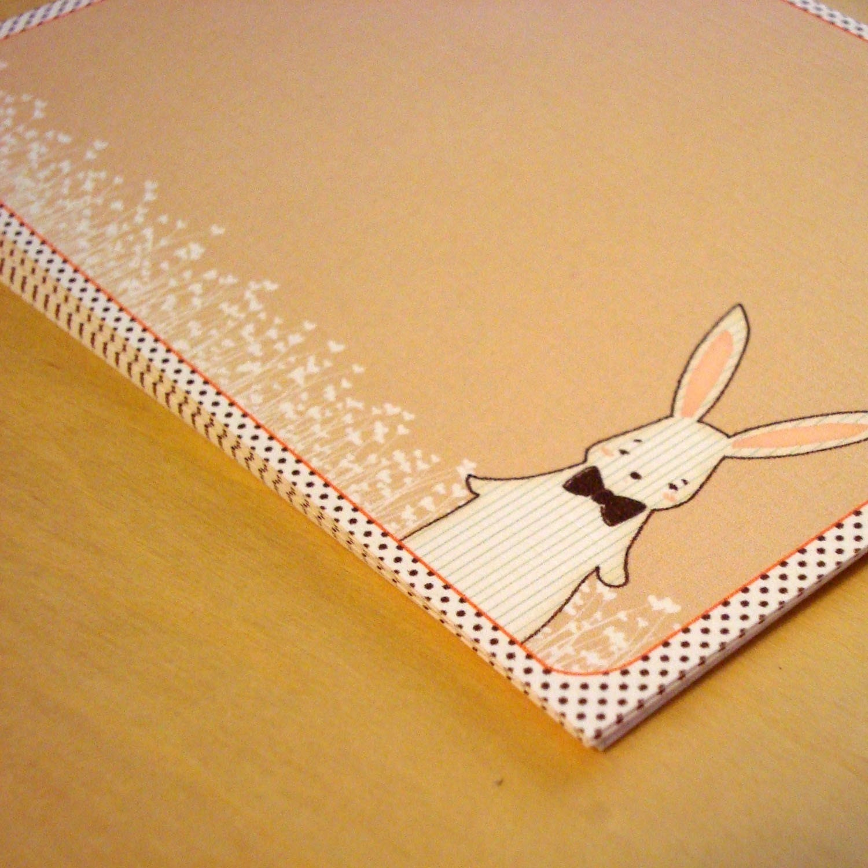 Pinstripe Bunny Flat Notecard Set of 10