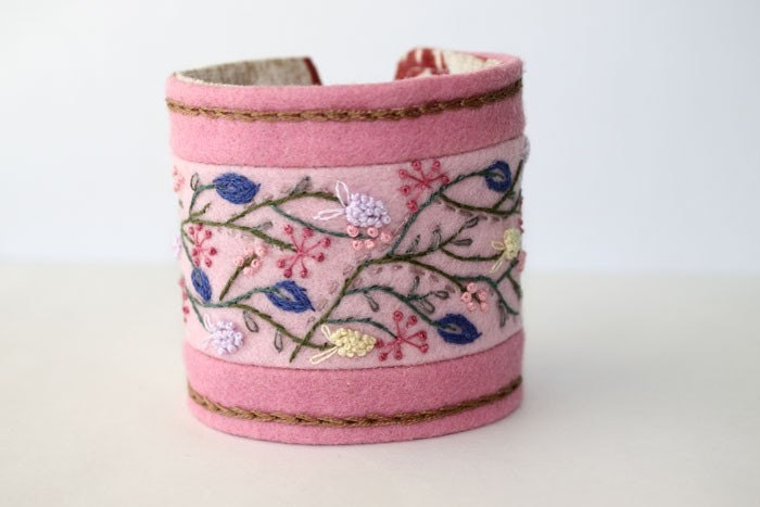Embroidery Current Issue CrossStitch and Needlework Wrist Cuff Hand Embroidery pink pastel Wildflower Romance Bracelet