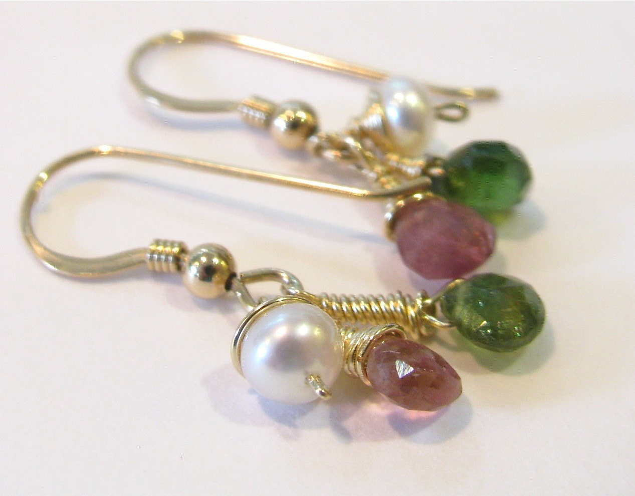 Tourmaline pearl gold filled earrings by SeasideStudio on Etsy from etsy.com