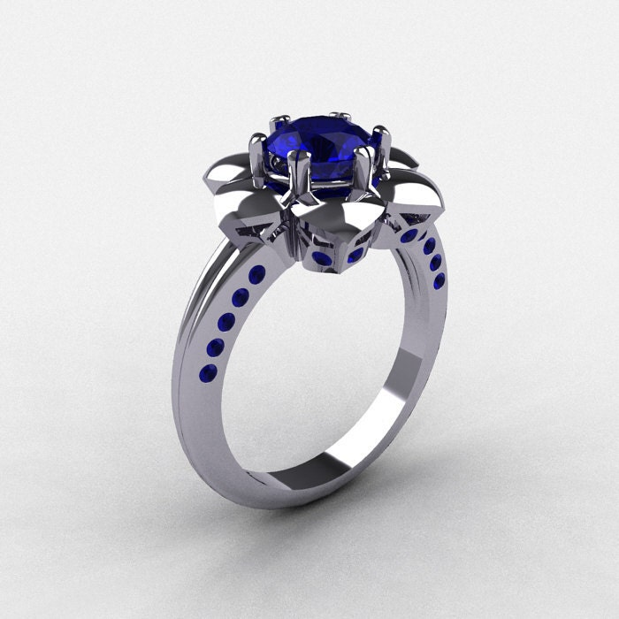 14K White Gold Blue Sapphire Wedding Ring by DesignMasters on Etsy