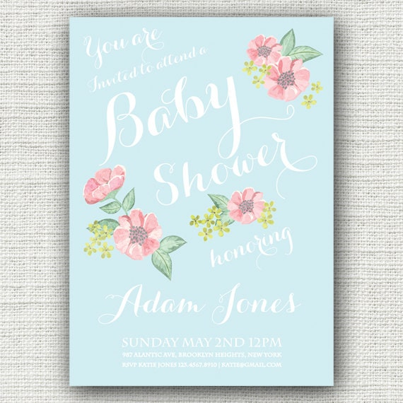 Baby Shower Invitation - Fully Customisable 1950's Illustrated Vintage ...