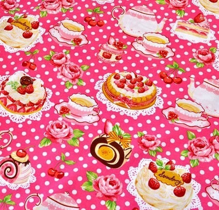 Tea Time Print ( Cake, Macaron, Strawberry, Cherry ) Half Yard Dark Pink