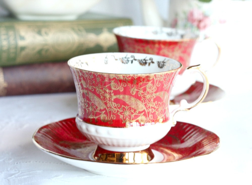 Two classic tea cups and saucers in rich red and gold: Elizabethan Sovereign cups and saucers for a special tea party - NancysTeaShop