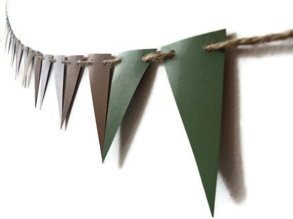Decorative Paper Bunting, Brown Green Grey, Pennant Flag Banner, Masculine Room Decor, Neutral Home Decor, Natural Look, Photo Prop, Party - ThePaperLake