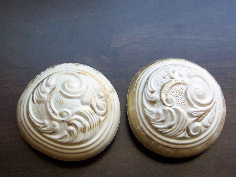 2 vintage decorative door knob handle covers by