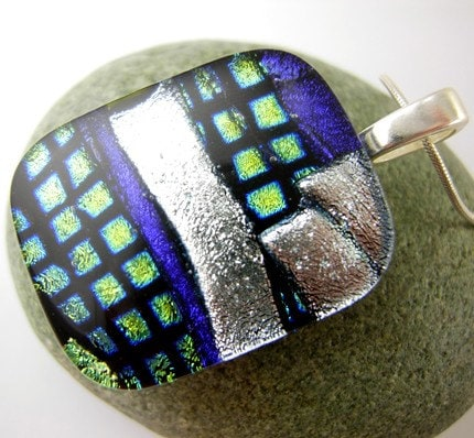 Etsy :: Layered Purple, Silver and Green Boxes Dichroic Fused Glass Pendant