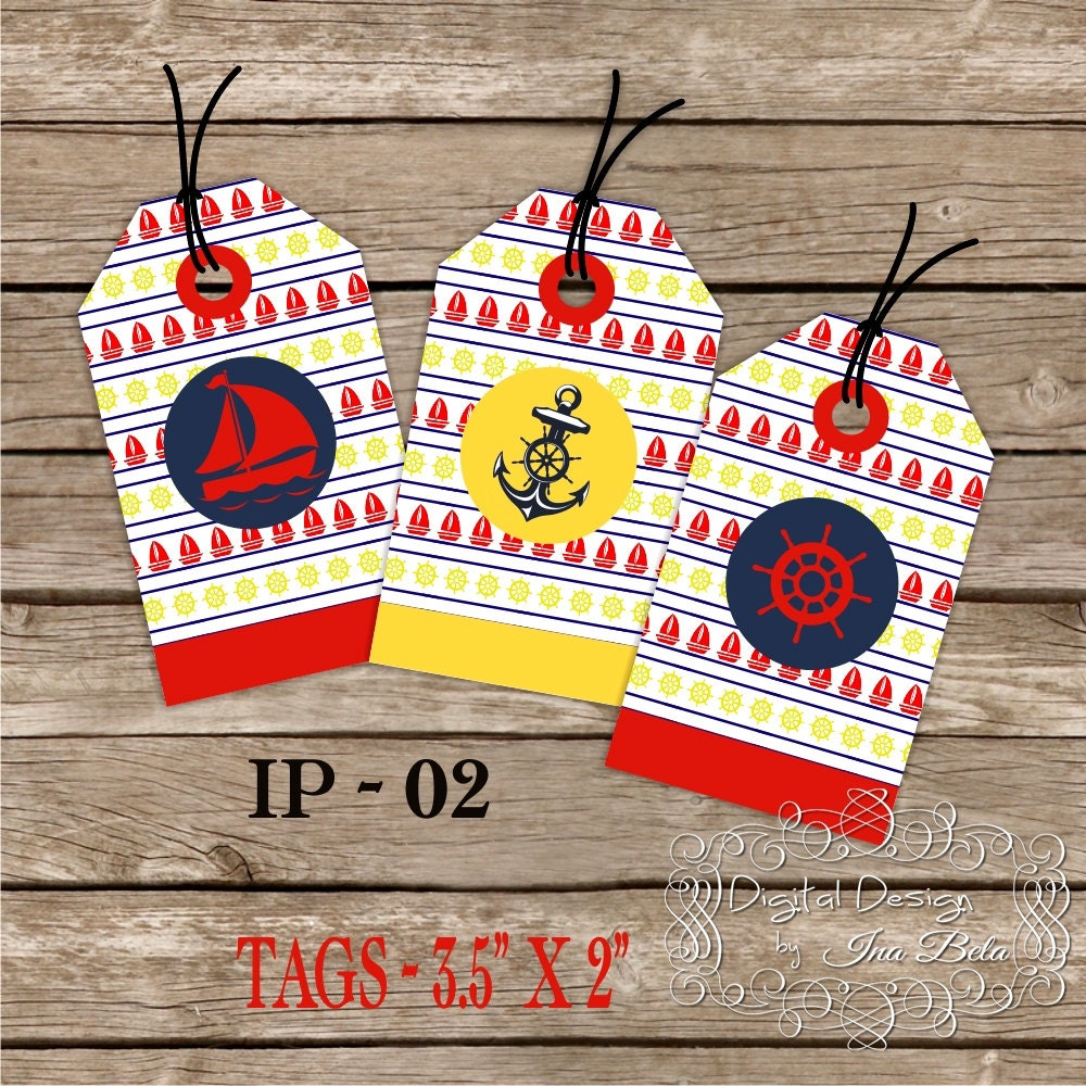 Birthday Baby Shower Nautical Tags Red Blue Yellow.DIY Printable Design - InasPlacebyInaBela