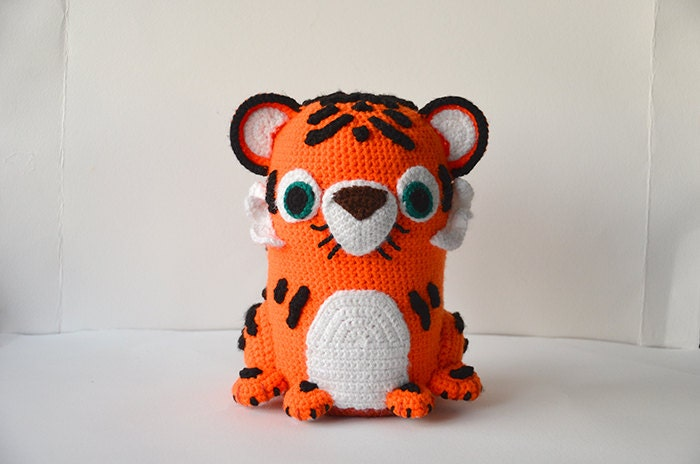 White Tiger Crochet Pattern Free : Tuba the Tiger Large Amigurumi Zoo Animal por ...