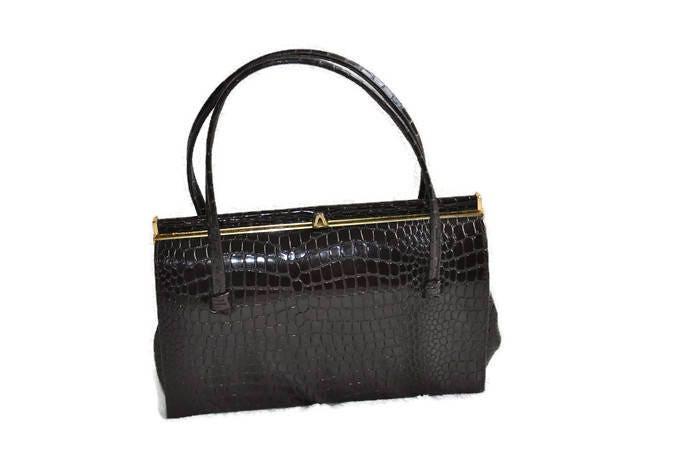 Vintage Brown Handbag  Faux Crocodile Handbag  1960s Suede Lined Bag