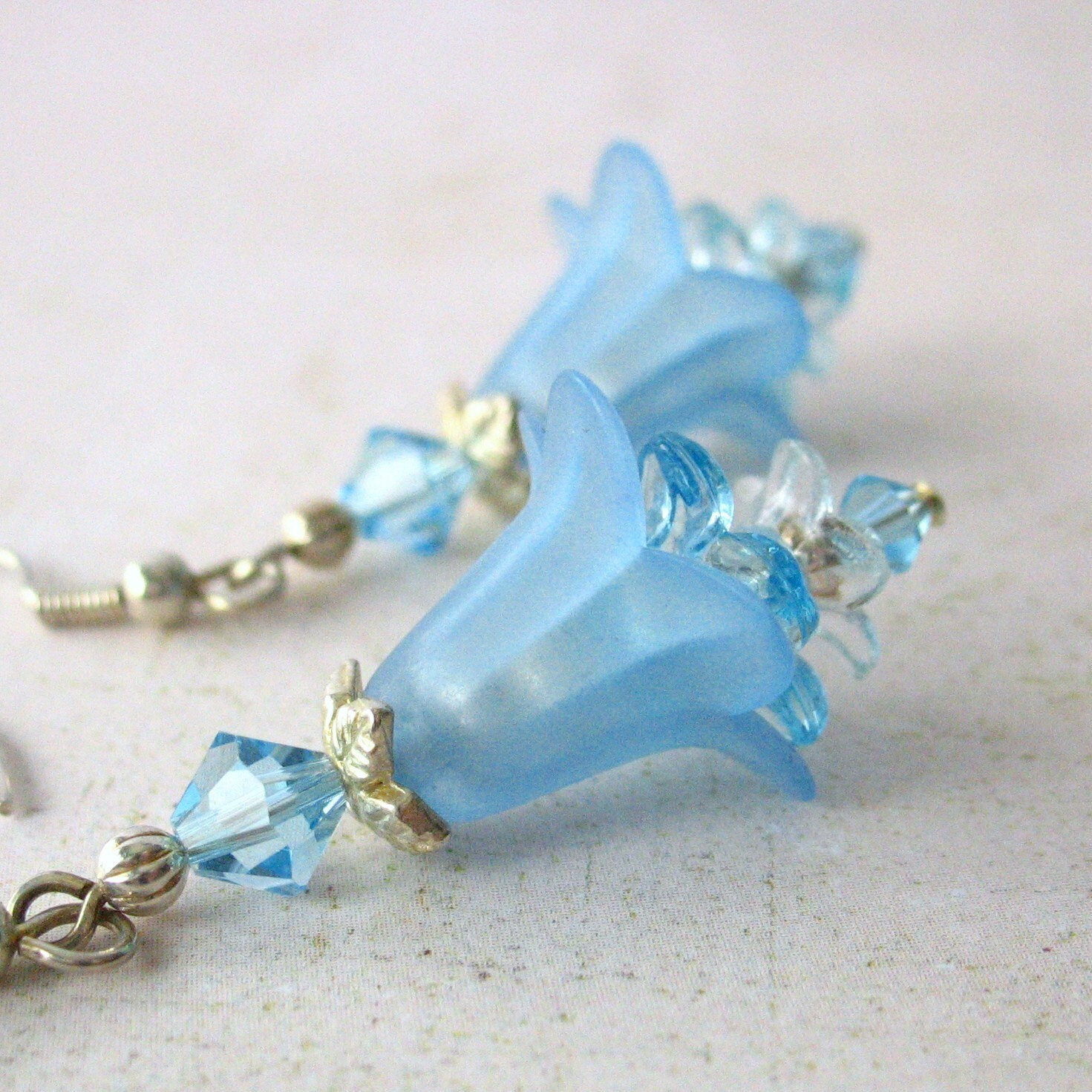 Blue Flower Cascade Dangle Earrings