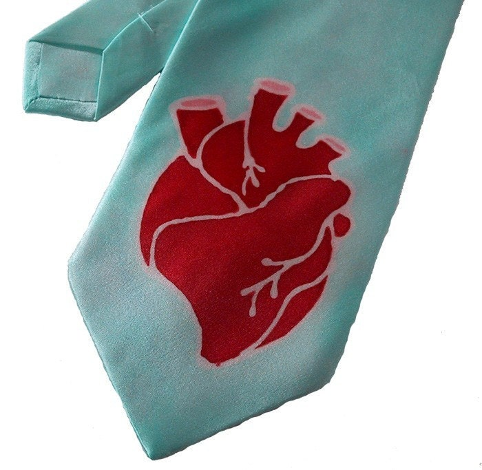 Etsy :: hand painted silk anatomical heart tie