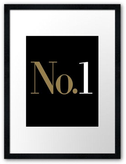 No.1 (8x10 inch Modern Art Print in Faux Gold, Jet Black and White)