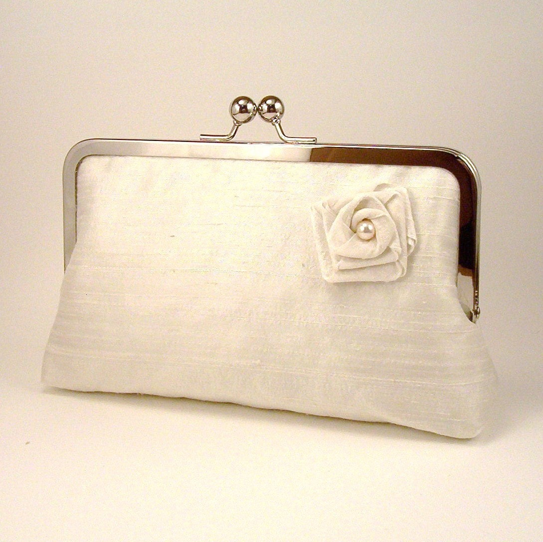 Luxury Ivory Silk Bridal Clutch, with Handmade Rose - Lined in Powder Blue Dupioni Silk