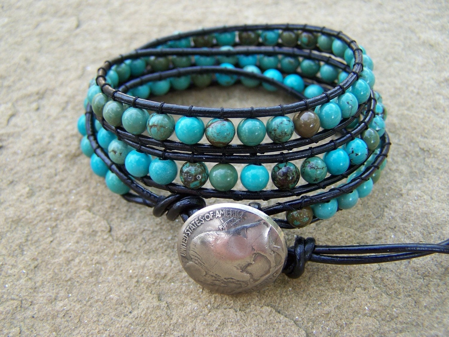 New Mexico Turquoise Leather Beaded Wrap Bracelet