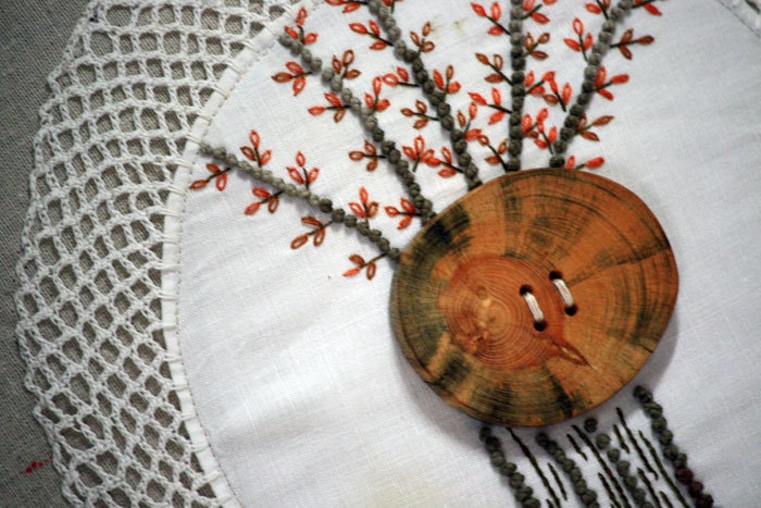 Autumn Tree Home Pillow Fall Decor Cushion Hand Embroidered Repurposed Vintage Doily