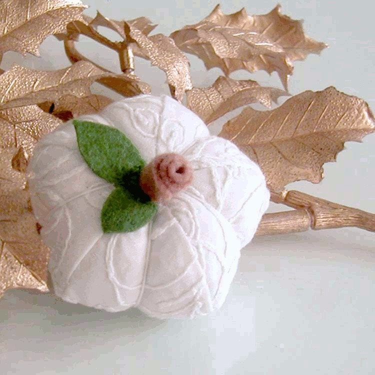 White Pumpkin Pincushion  by BeadsCraftz by EtsyForCharity on Etsy from etsy.com