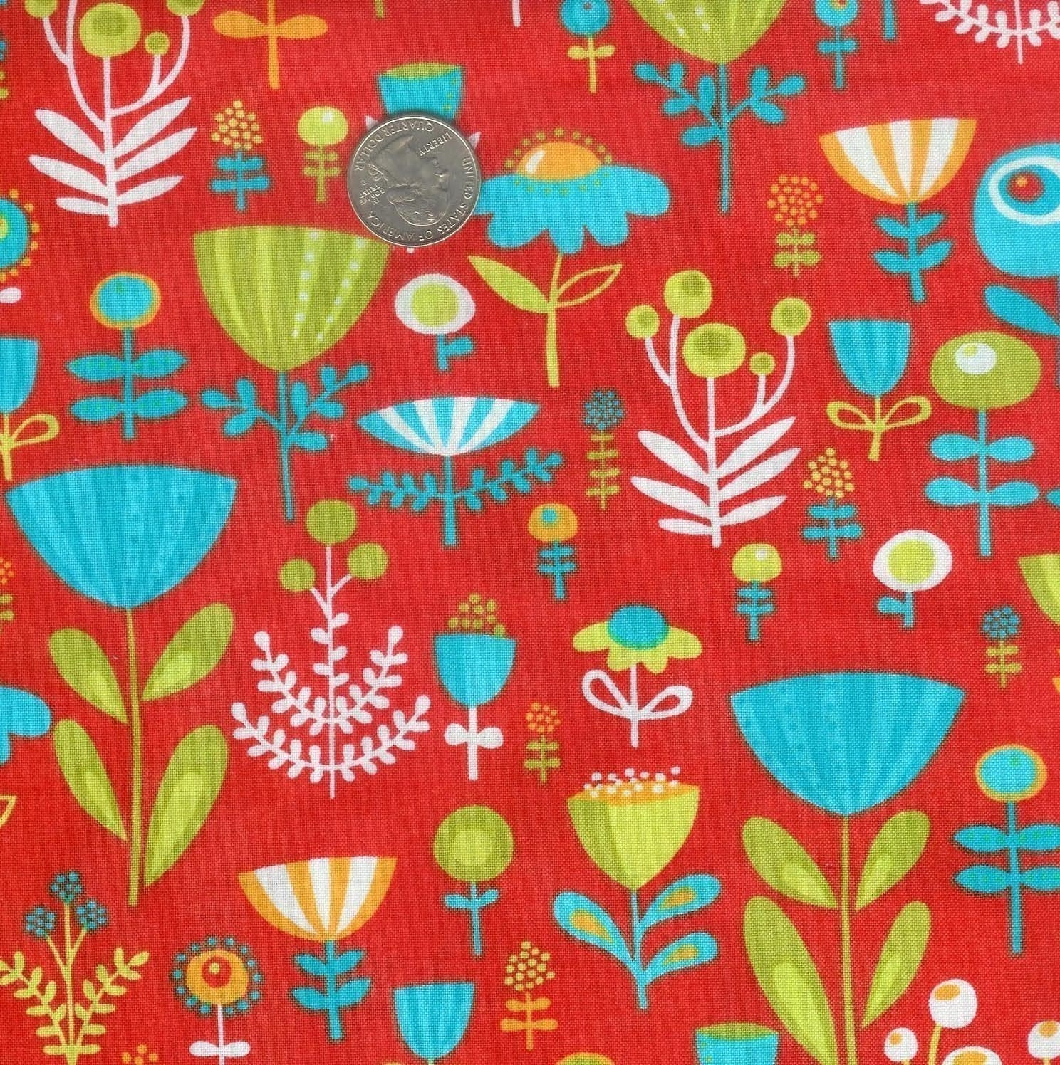 Fat quarter - Erin McMorris Park Slope Poppy Dot Floral in Orange cotton quilt fabric - retired