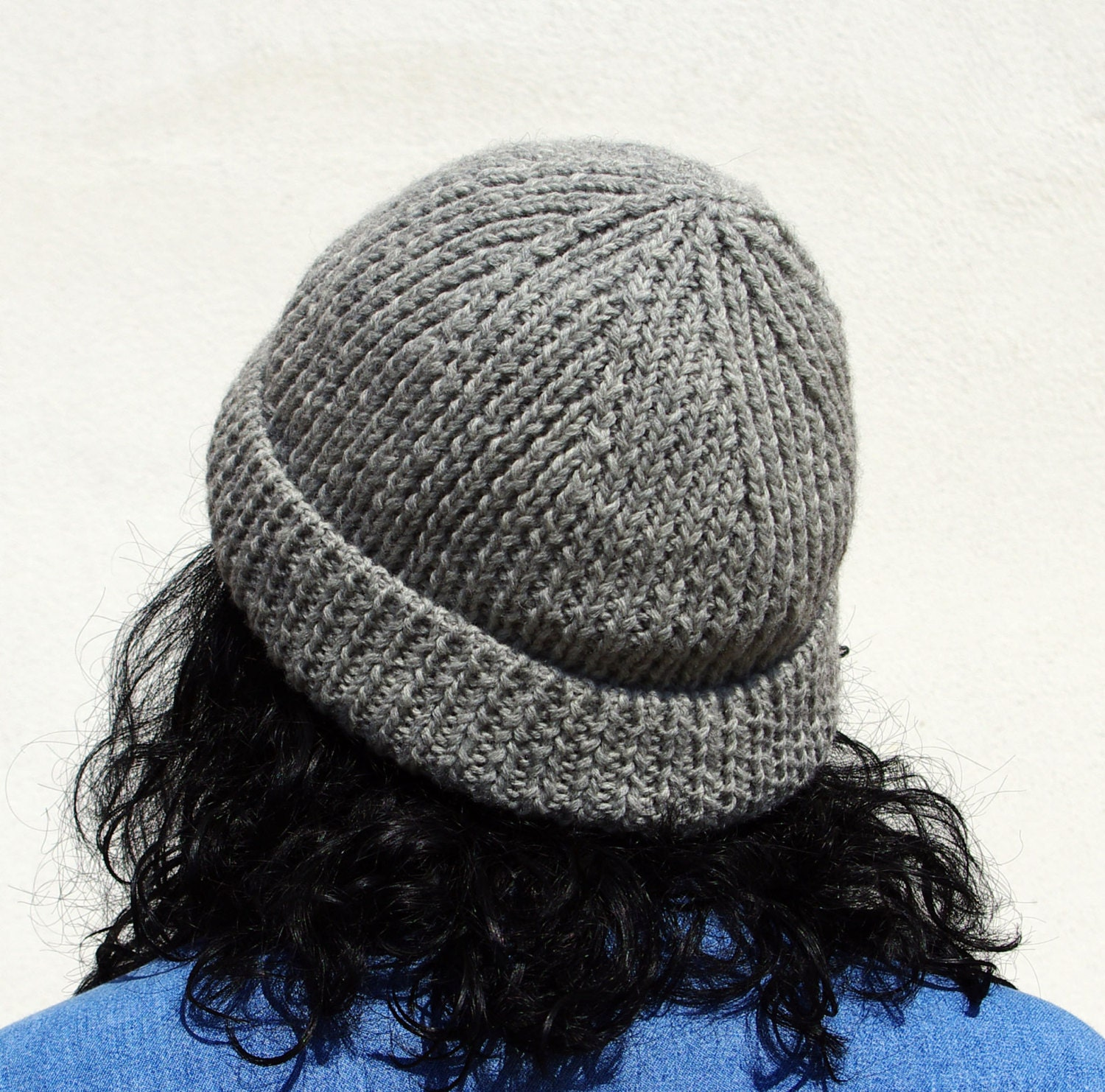 Knitting Pattern For Ribbed Beanie : Beanie gray pattern pdf knit ribbed hat by drittoerovescio ...