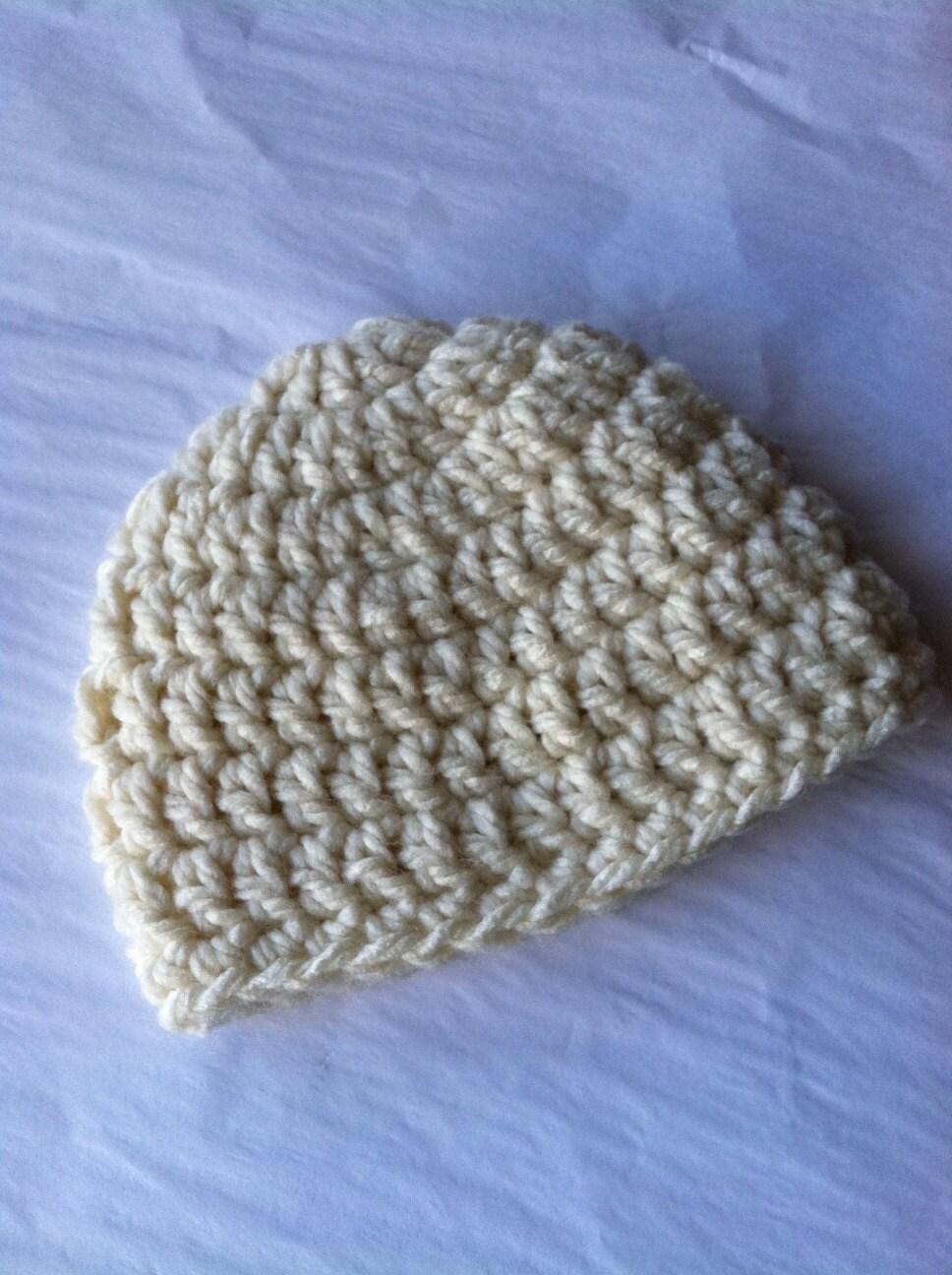 Newborn Crochet Hat Pattern Bulky Yarn : Items similar to Crochet Baby Hat in Bulky Cream Yarn ...