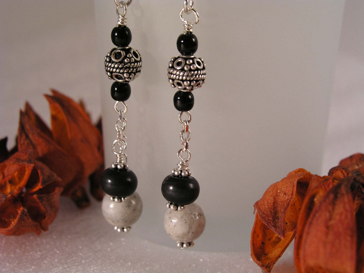 Blackstone, Bali, Riverstone, and Sterling Silver Earrings