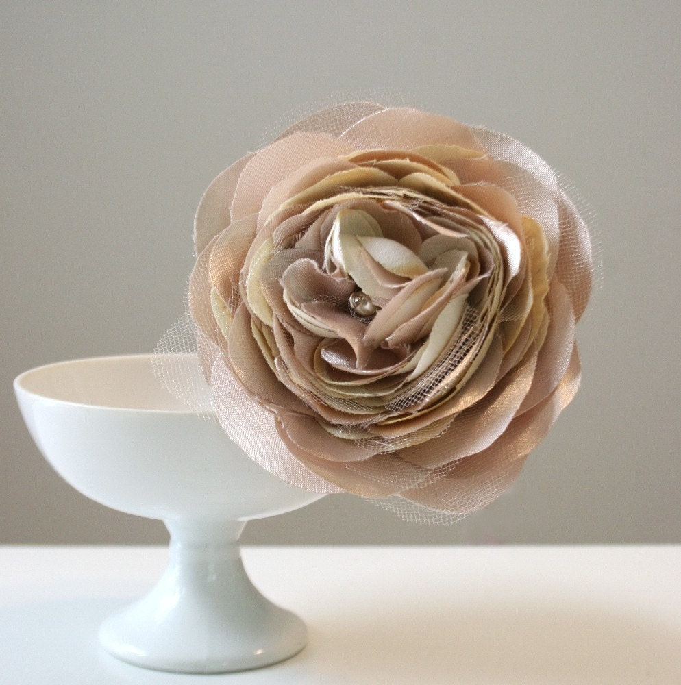 flower FASCINATOR, peachy tan champagne poppy bloom . pearl glass beads
