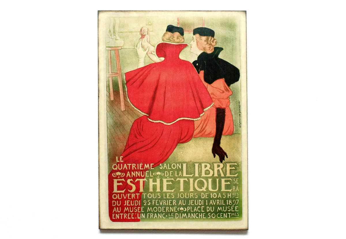 "Retro Wood Wall Art 8x12"" 20x30 cm, French Table, Paris, Vintage advertising, Wall Hanger, Art Deco Room Decor, Shabby chic, Coffee decor - DejaVuPrintStore"
