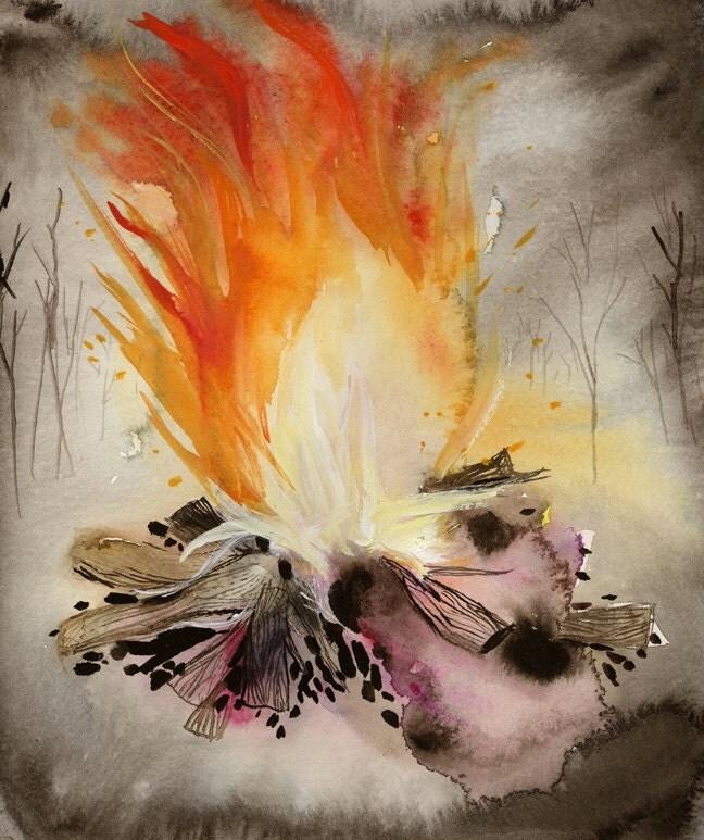 Original Painting -Campfire