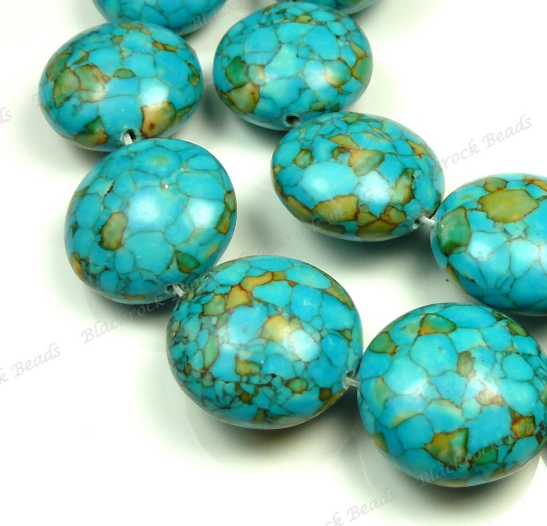 20x12mm Mosaic Turquoise Blue Gemstone Beads By Blackrockbeads