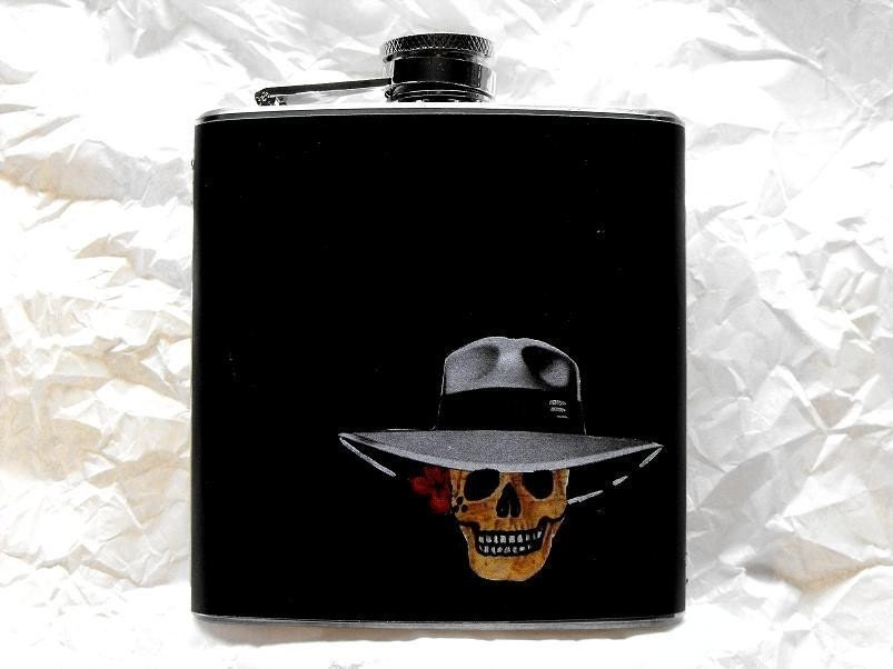 DIA DE LOS MUERTOS DECORATED STAINLESS STEEL FLASK - 6oz. DAY OF THE DEAD