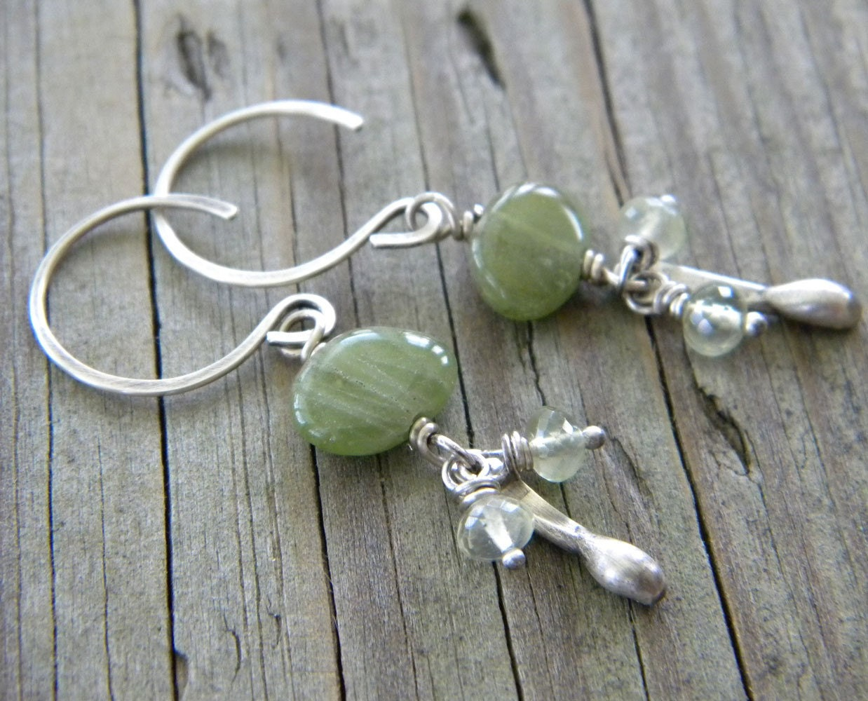 Natural Peridot - Green Gossular Garnet - Antiqued Sterling Silver Teardrop Paddle Earrings