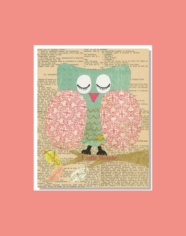 Baby Girl Nursery Prints, NURSERY ART PRINTS, French Nursery, Vintage Nursery Prints,Prints For Girl, Nursery Wall Decor, Pastel Prints, Owl