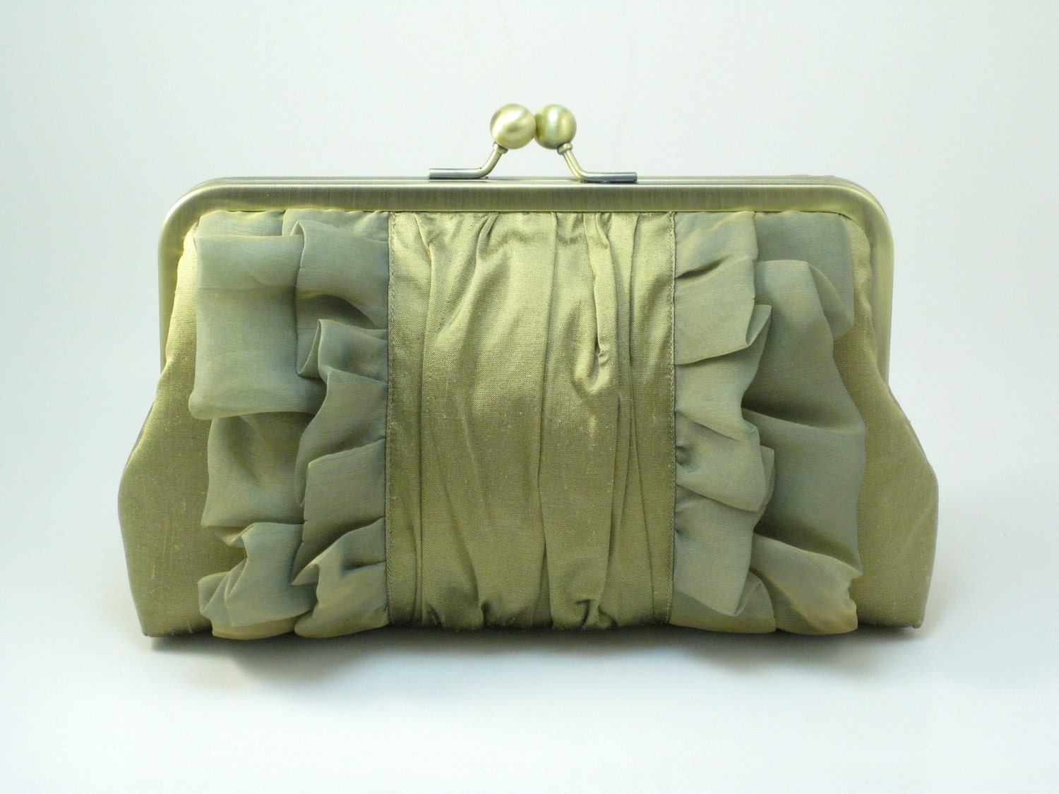 Bridal or Evening Clutch Bag - Golden Olive CHIFFON RUFFLES