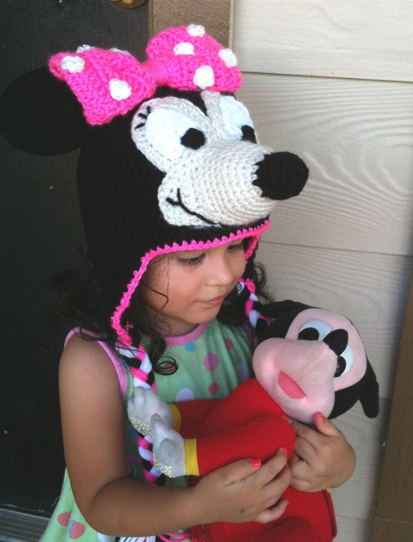 Minnie Mouse Crochet Beanie Ear-flaps PDF Pattern - To Disneyland Disney-world Trip- 3 SIZES