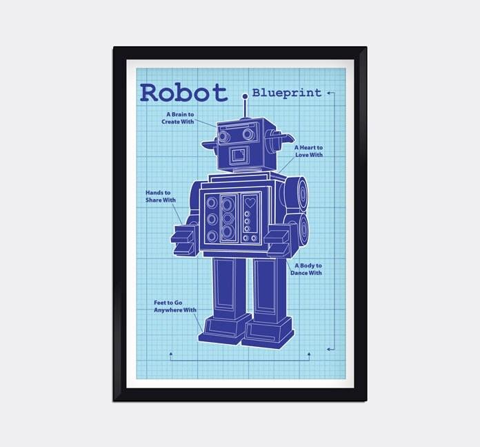 Modern blueprint robot kids wall art for Blueprints for kids