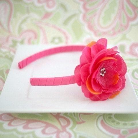 Maisie - Hot Pink Headband with a Hot Pink Rhinestone Center Flower