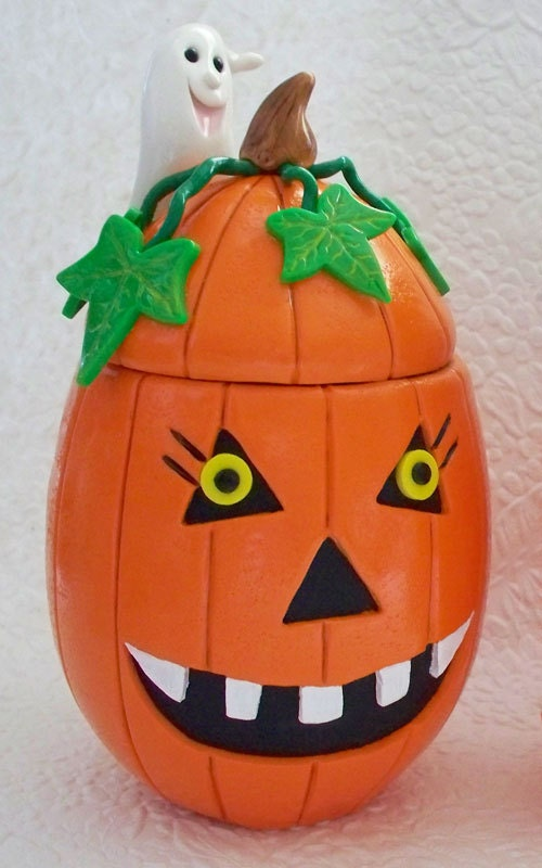 Scary Halloween Pumpkin / Ghost Whatever Jar