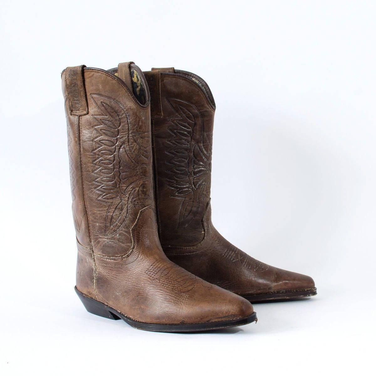 Vintage Brown Real Leather Cowboy Boots Festival Mens UK 8 EU 42 US 9