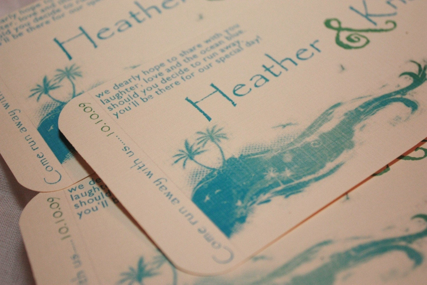 Boarding Pass Destination Wedding Invitations - Blue Beach Theme