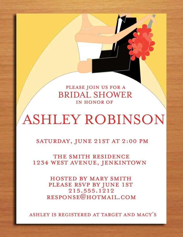 Wedding Couple Bridal Shower Customized Printable Invitations / DIY