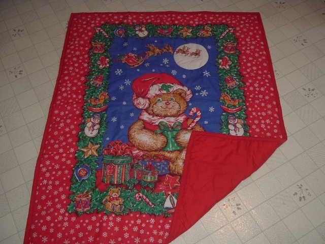 Christmas Teddy Bear Hand Quilted Baby Quilt - 20 percent off