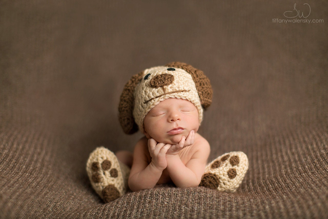 Crochet Pattern Baby Dog Hat : Crochet Newborn baby dog hat booties set crochet by ...